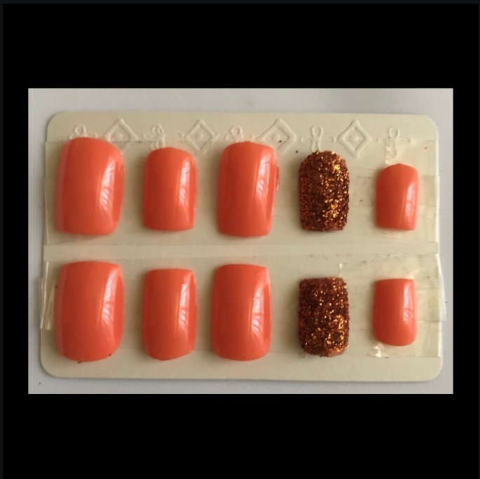 Peach Square Glitter Nails