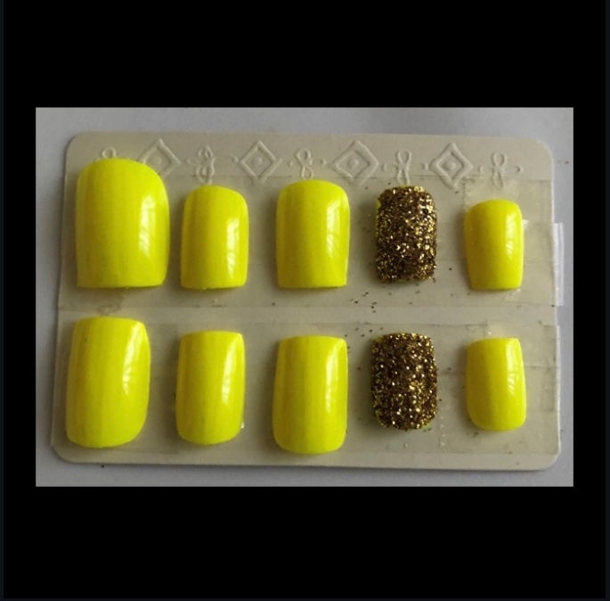 Yellow Square Glitter Nails