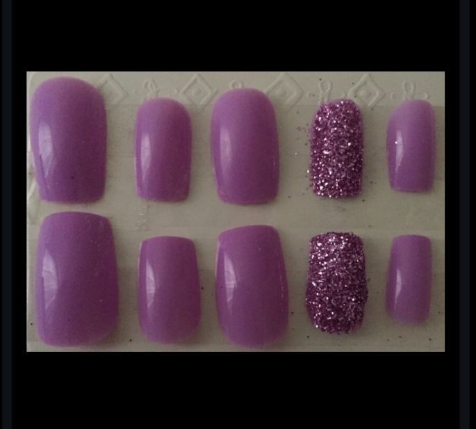 Lilac Lupus Awareness Square Glitter Nails