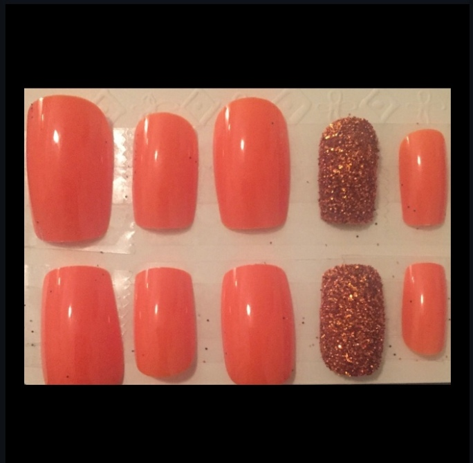Orange Glitter Square Set