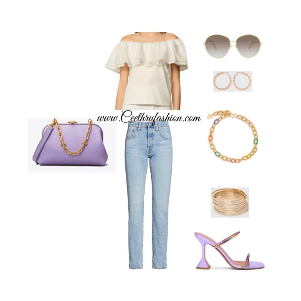 #wearpurple #purple #lupus #lupusawareness #lupusawarenessmonth   #springfashion #streetstyle #springstyle #springoutfit #ootd #outfitoftheday #springlook #sandro #ruffletop #offtheshoulder #levi #501 #target #celine #toryburch #aminamuaddi #sylviatoledano #blackfashionblogger #brownfashionblogger #budgetfriendly #highlowfashion