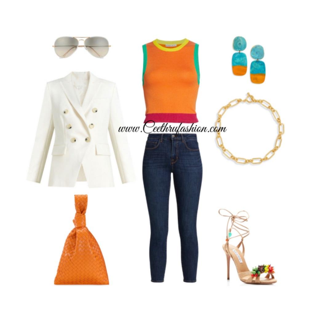 #springoutfits #springlooks #outfitoftheday #ootd #blazer #statementjewelry #clutch #aviators #Chainlinknecklace #budgetfriendly #highlowfashion #designerfashion #style #fashionblogger #lagence #blackfashionblogger #lupus #veronicabeard #aliceandolivia #bottegaveneta #aquazzura #rayban #wedreamincolour